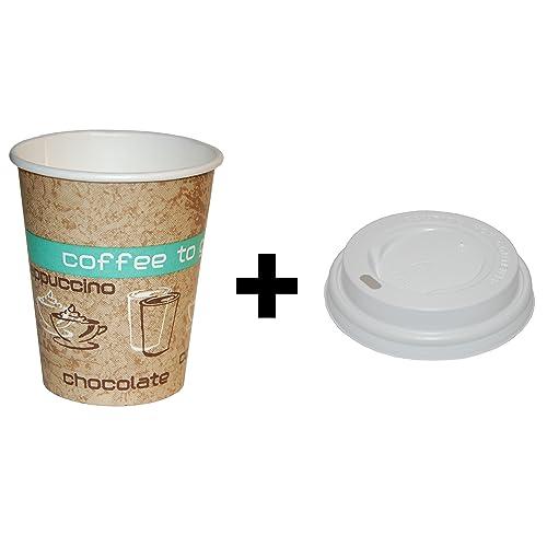 50gobelets en Carton (200ML) avec des couvercles, Coffee to go Gobelet, Produit de qualité