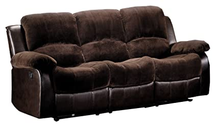 Homelegance 9700FCP 3 Double Reclining Sofa, Brown Plush Microfiber