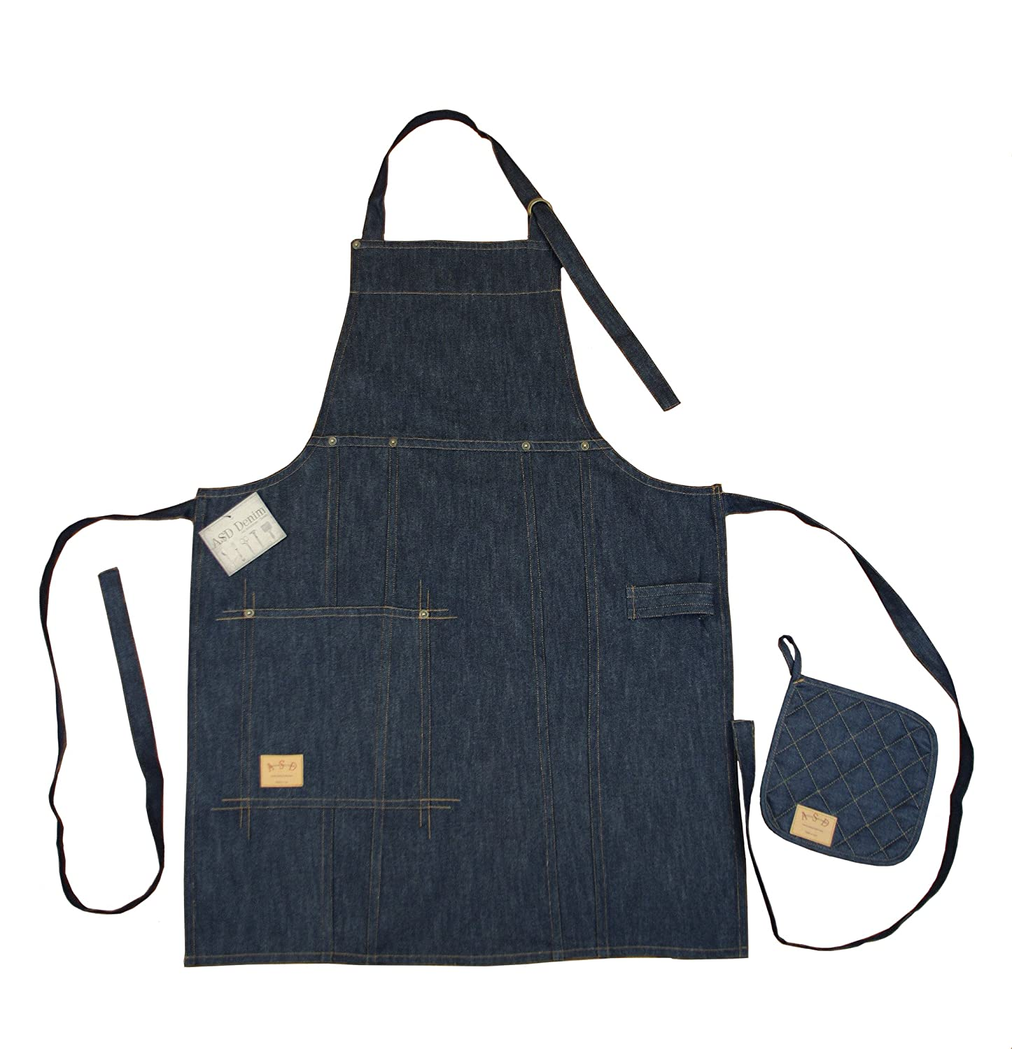 ASD Living MA-905 Vintage Draper Bib Apron and Pot Holder Set, Indigo, 91.44x68.58x0.63 cm