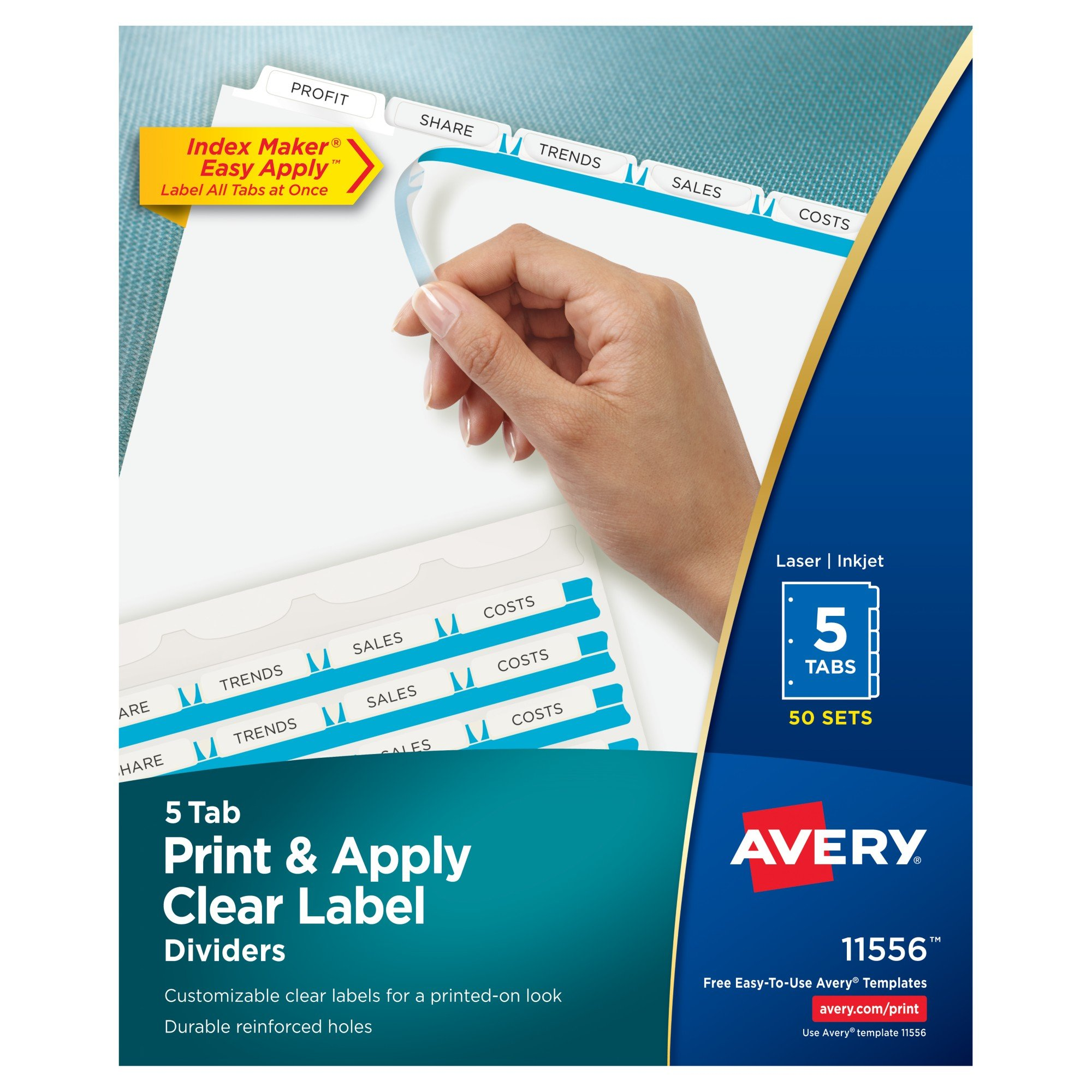 Avery Print & Apply Clear Label Dividers, Index Maker Easy Apply Printable Label Strip, 5 White Tabs, 50 Sets, Case Pack of 4 (11556)