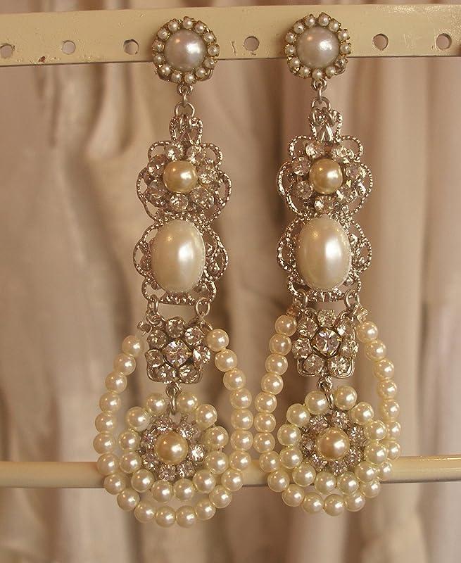 Light Gold Ivory Diamond White Pearl /& Rhinestone Flower Prom Bridal Hair Comb