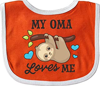 My Oma Loves Me with Sloth and Hearts Baby Bib Cecil Beard