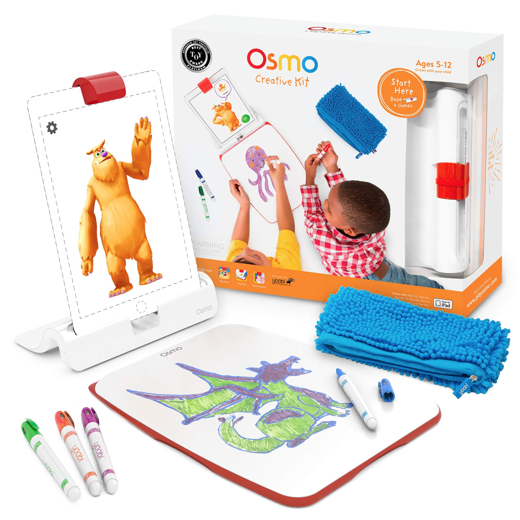 Osmo - Creative Kit for iPad - 3 Hands-On Learning Games - Ages 5-10 - Creative Drawing & Problem Solving/Early Physics - STEM - (Osmo iPad Base Included) by Osmo (Image #1)
