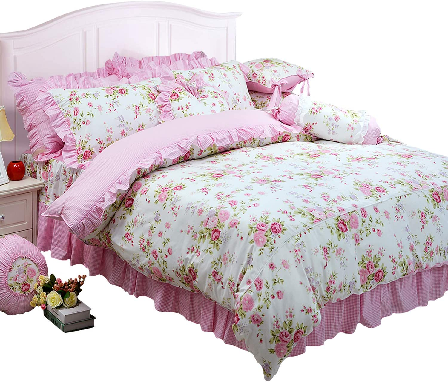 FADFAY Shabby Pink Duvet Cover Set Rose Floral Bedding Collection Elegant Princess Lace Ruffle Quilt Cover Set for Girls 4 Pieces Full Size