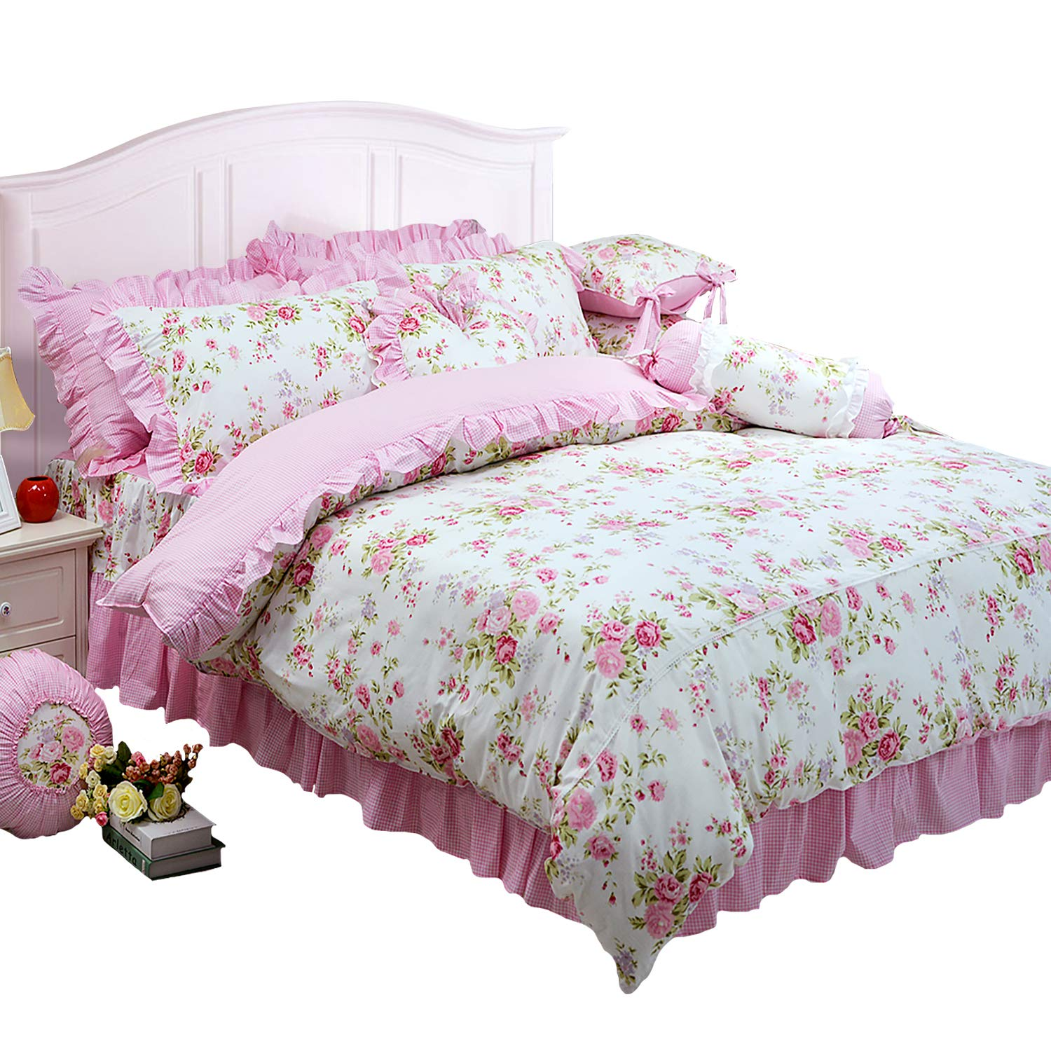 FADFAY Shabby Pink Duvet Cover Set Rose Floral Bedding Collection Elegant Princess Lace Ruffle Quilt Cover Set for Girls 4 Pieces King Size