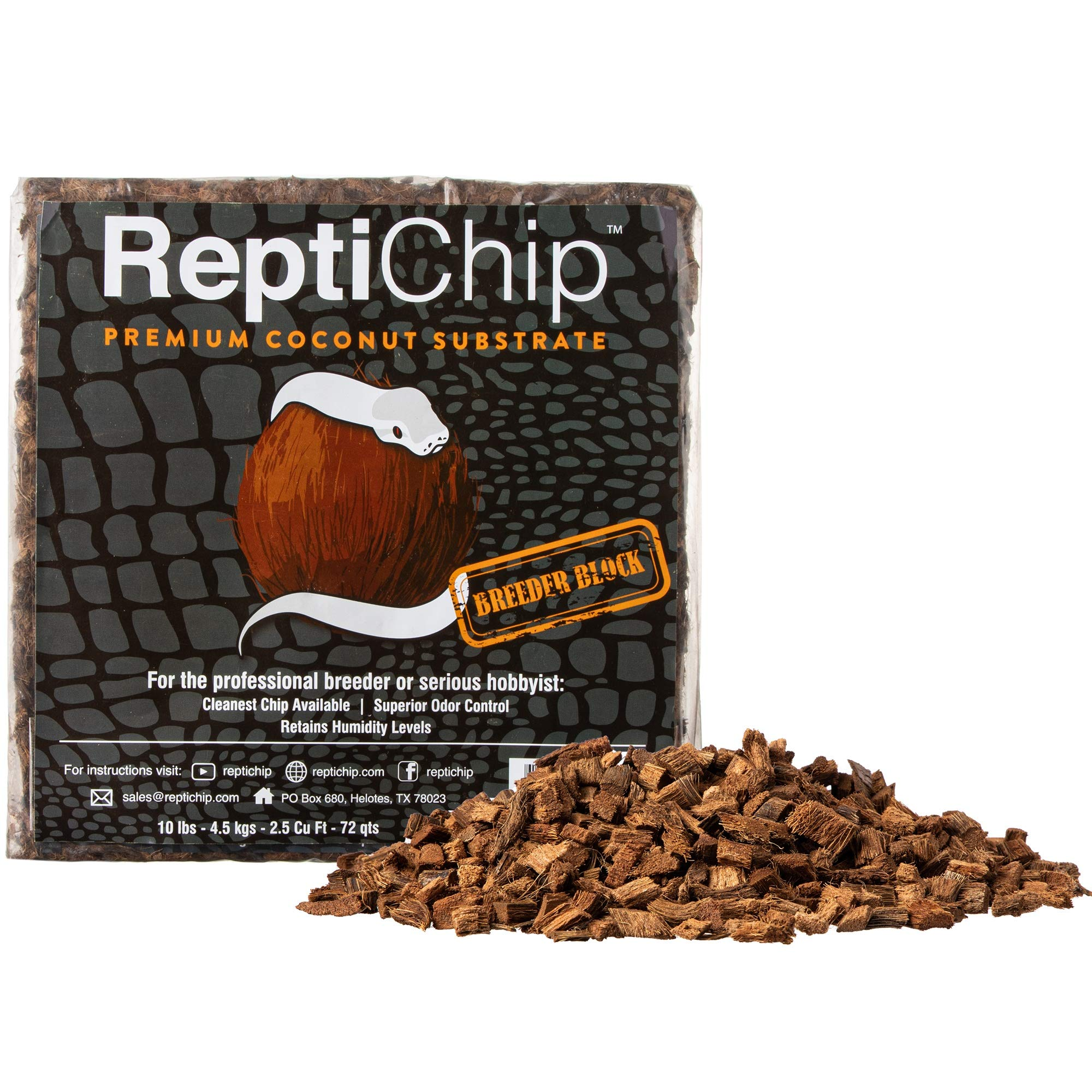 ReptiChip Premium Coconut Reptile Substrate, 72 Quarts, Perfect for Pythons, Boas, Lizards, and Amphibians by ReptiChip Premium Coconut Substrate