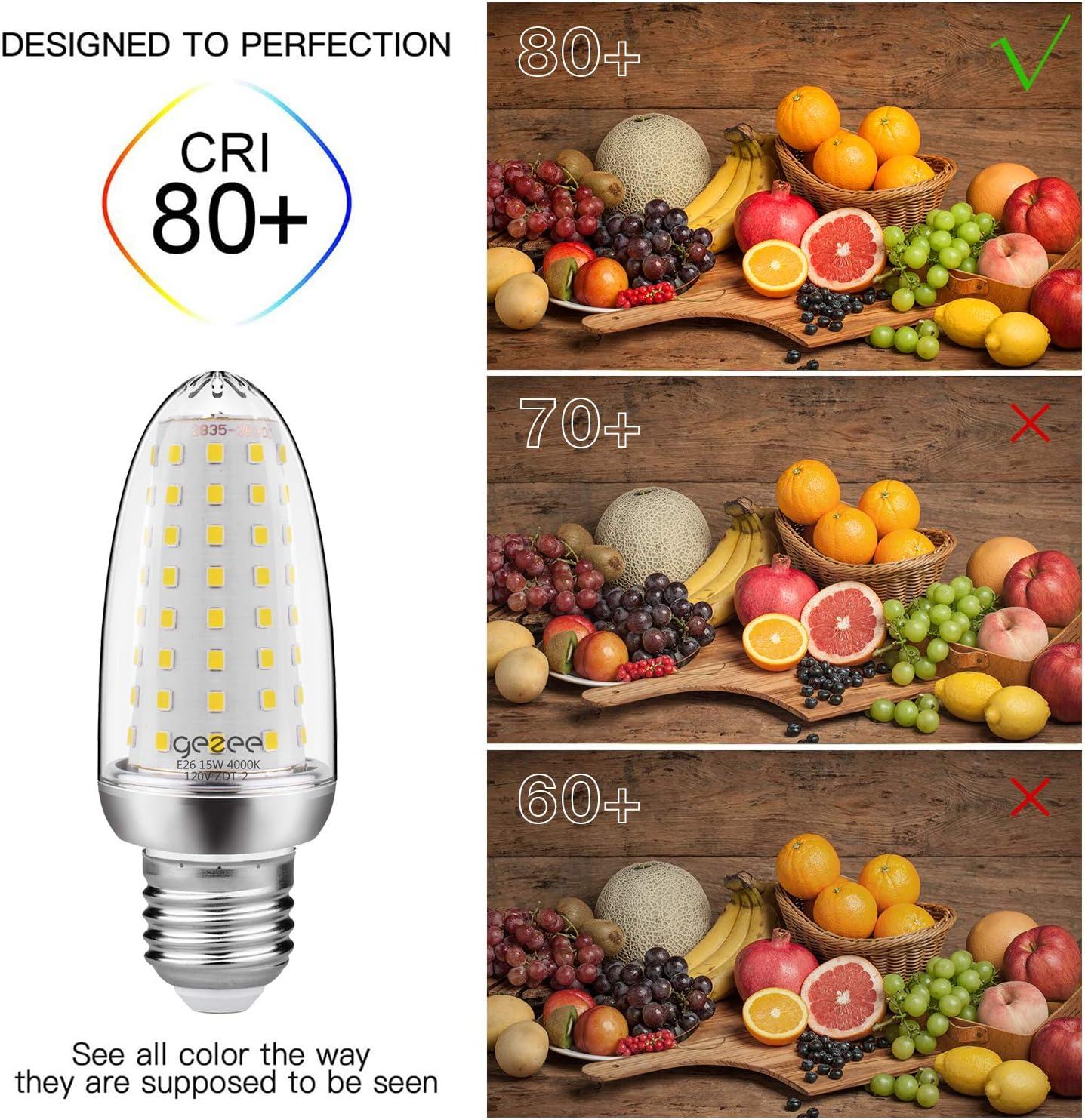 120 Watt Equivalent,E26 LED Lamp 15000 Lumens 4000K Neutral-White,Non-Dimmable,for Ceiling Fan,Flicker Free Pack of 4 GEZEE 15W LED Corn Light Bulb