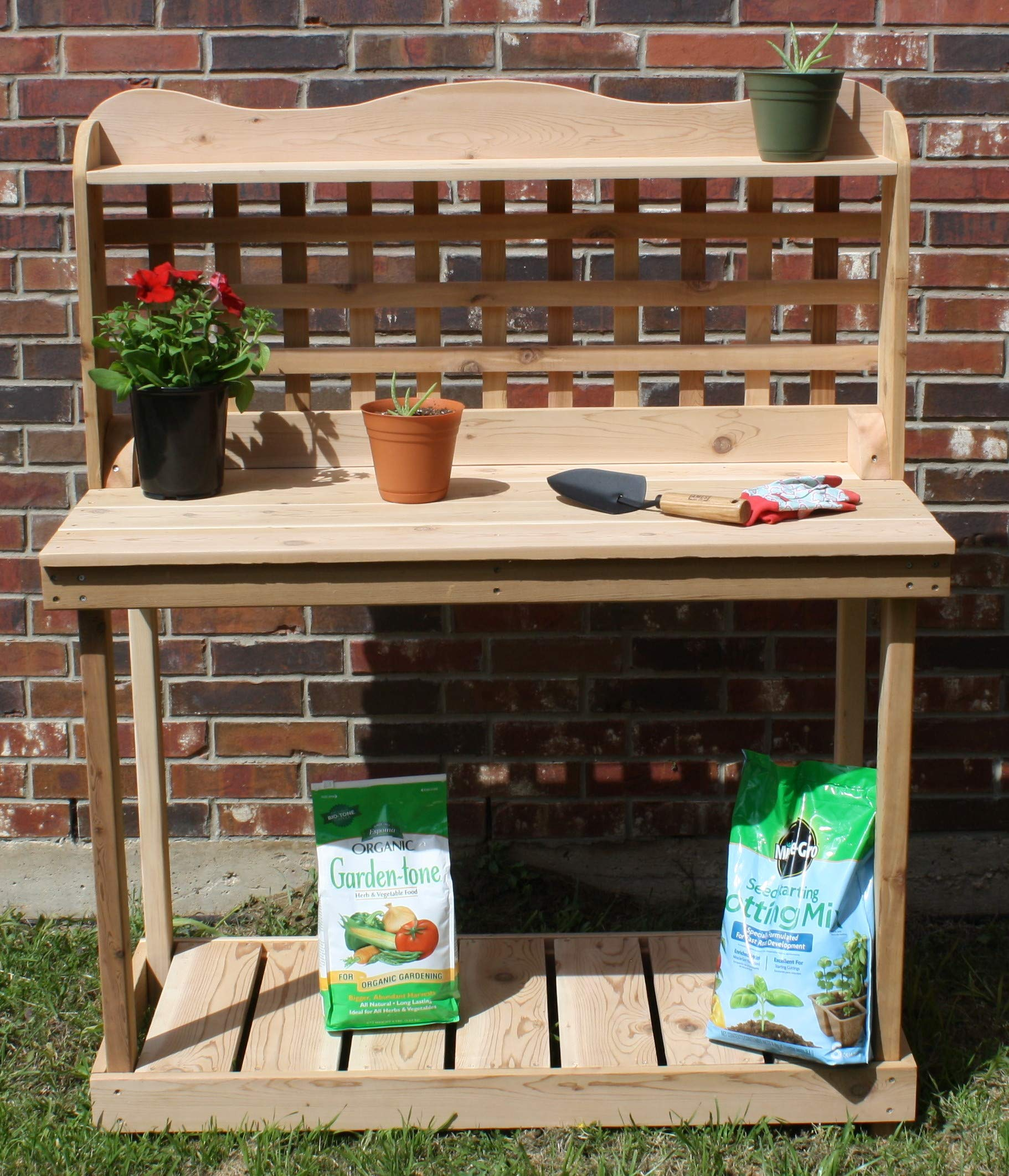 THREE MAN Cedar Decorative Lattice Gardening Potting Bench - 6 Foot Natural by THREE MAN (Image #3)