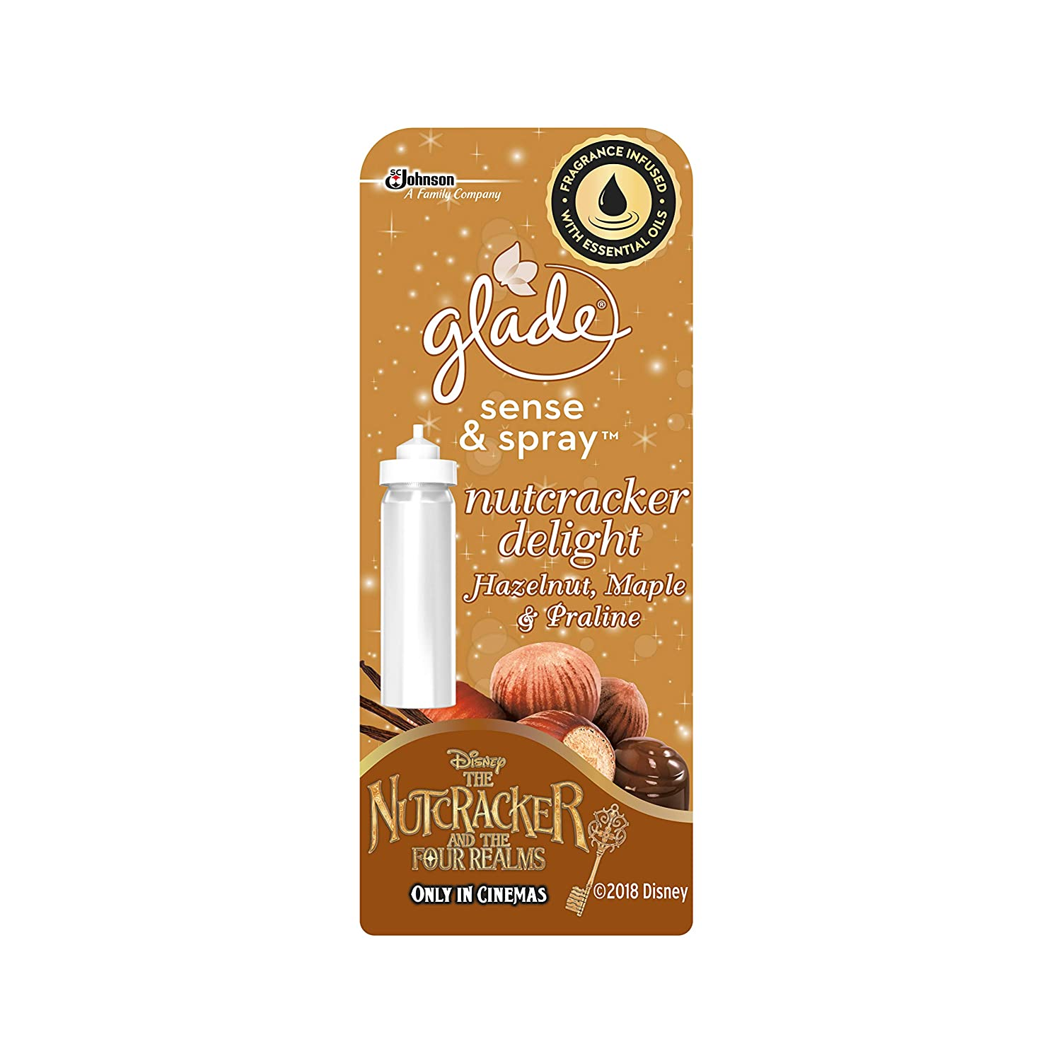 Glade Sense & Spray Air Freshener Refill, Automatic and Manual Diffusion with Starter Kit, 18 ml, Nutcracker Delight Fragrance 302807