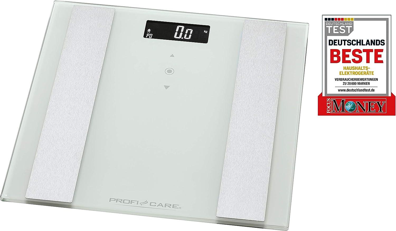 ProfiCare PC-PW 3007 FA 8in1 Elektronische Glas-Personenwaage mit Edelstahleinlage Multifunktions-LCD-Display Sensor-Touch-Bedienung