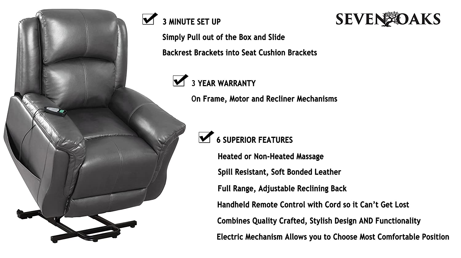 Amazon.com Seven Oaks Power Lift Recliner for Seniors | Electric Chair for the Elderly with Heated Massage | Adjustable Controls u0026 Full Range of Motion ...  sc 1 st  Amazon.com & Amazon.com: Seven Oaks Power Lift Recliner for Seniors | Electric ... islam-shia.org