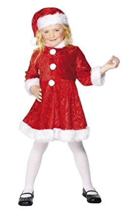 Smiffys Smiffys- Disfraz de Mini Miss Santa, Rojo, con Vestido y Gorro, Color, M - Edad 7-9 años 29181M