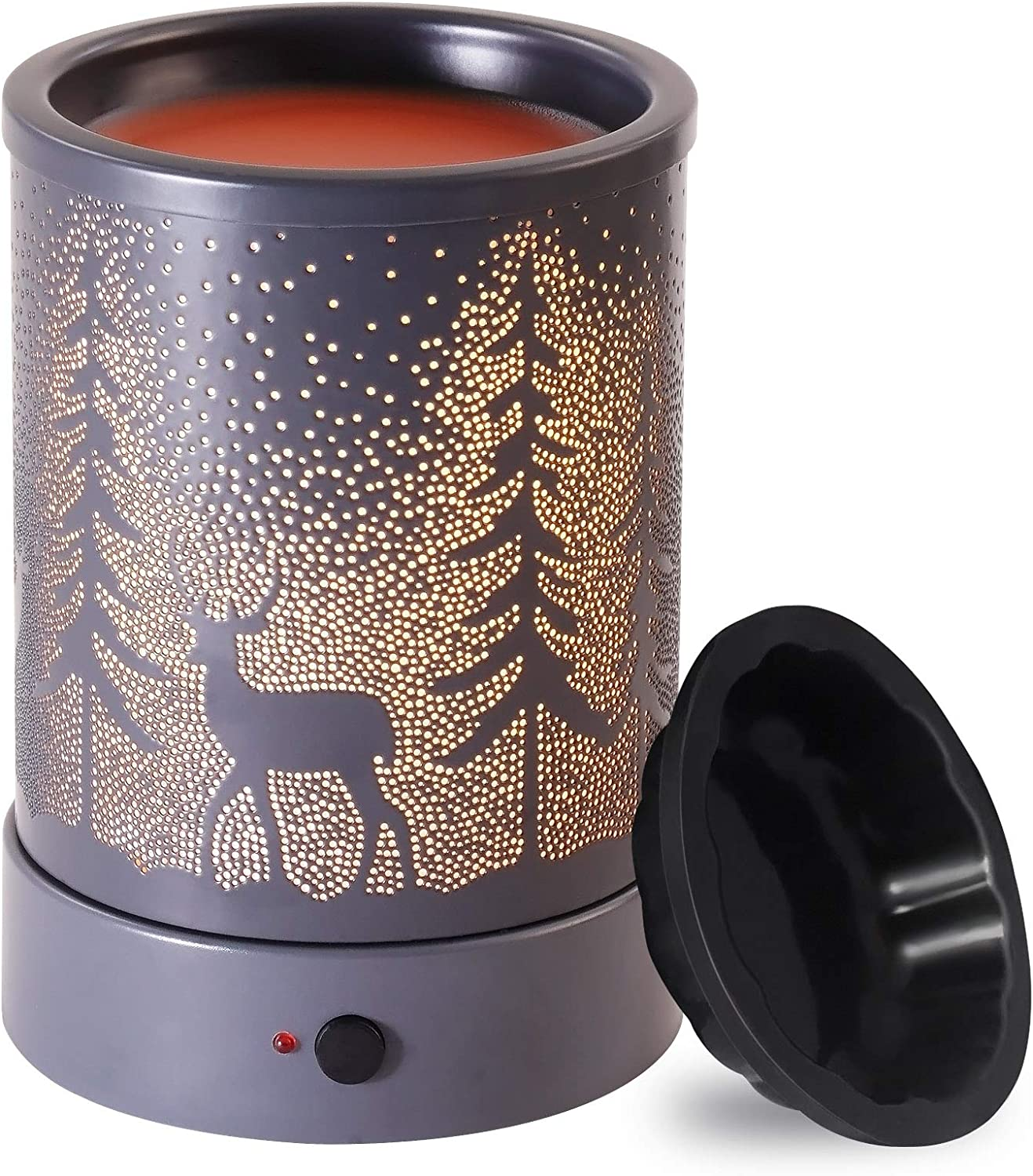 Wax-Melt Candle-Warmer Electric Scented-Melter Burner - with Time Wax Fragrance Essential Oil Heater for Spa Yoga Gym Office Home Decor (Gray)