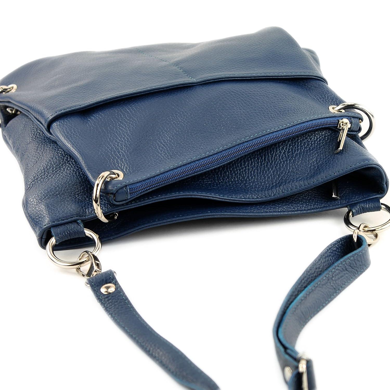 modamoda de – T140 – ital Messenger-/axelväska 2-i-1 läder Jeansblå
