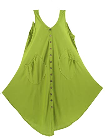 c59d1697e17 Beautybatik Avocado Green Sleeveless Lagenlook Vest Tunic Top 18   Amazon.co.uk  Clothing