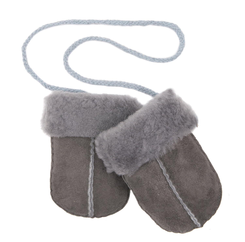 Grey Baby Sheepskin Puddy Mittens on String