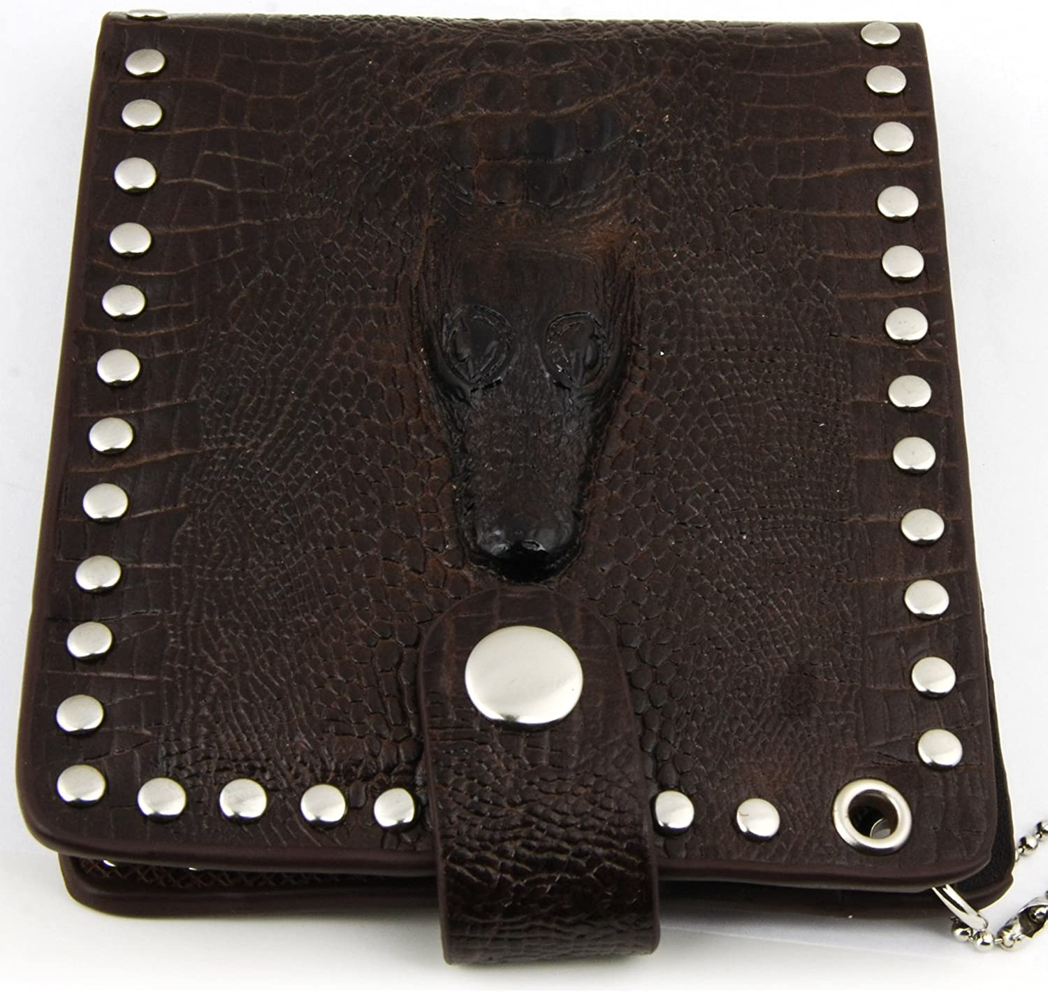CROCODILE PATTERN STAMPED COW LEATHER HANDCRAFTED MEN/'S BIKER BIFOLD LONG WALLET
