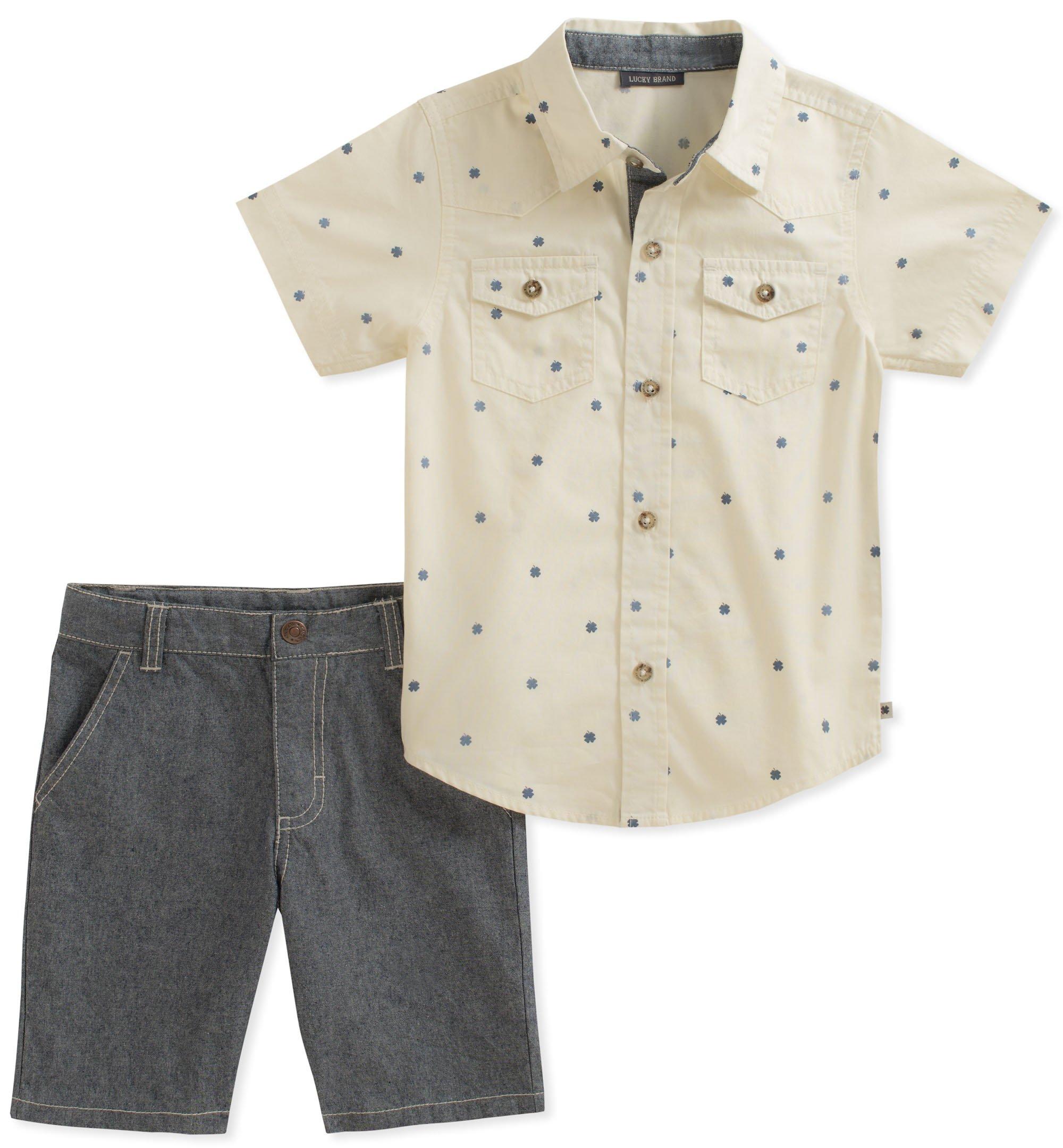 Lucky Brand Little Boys' Shirt Shorts Set, Oatmeal/Blue, 7