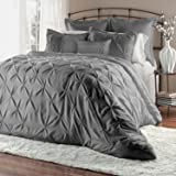 Unique Home 8-Piece Lucilla Pinch Pleat Comforter Set - Fade Resistant, Wrinkle Free, No Ironing Necessary, Super Soft - Queen, Grey