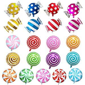 "SOTOGO 21 Pieces Sweet Candy Balloons Set Including 13 Pieces 18"" Round Lollipop Balloon Birthday Wedding Party Balloons and 8 Pieces 25"" X 18"" Candy Lollipop Balloons Aluminum Balloons for Birthday"