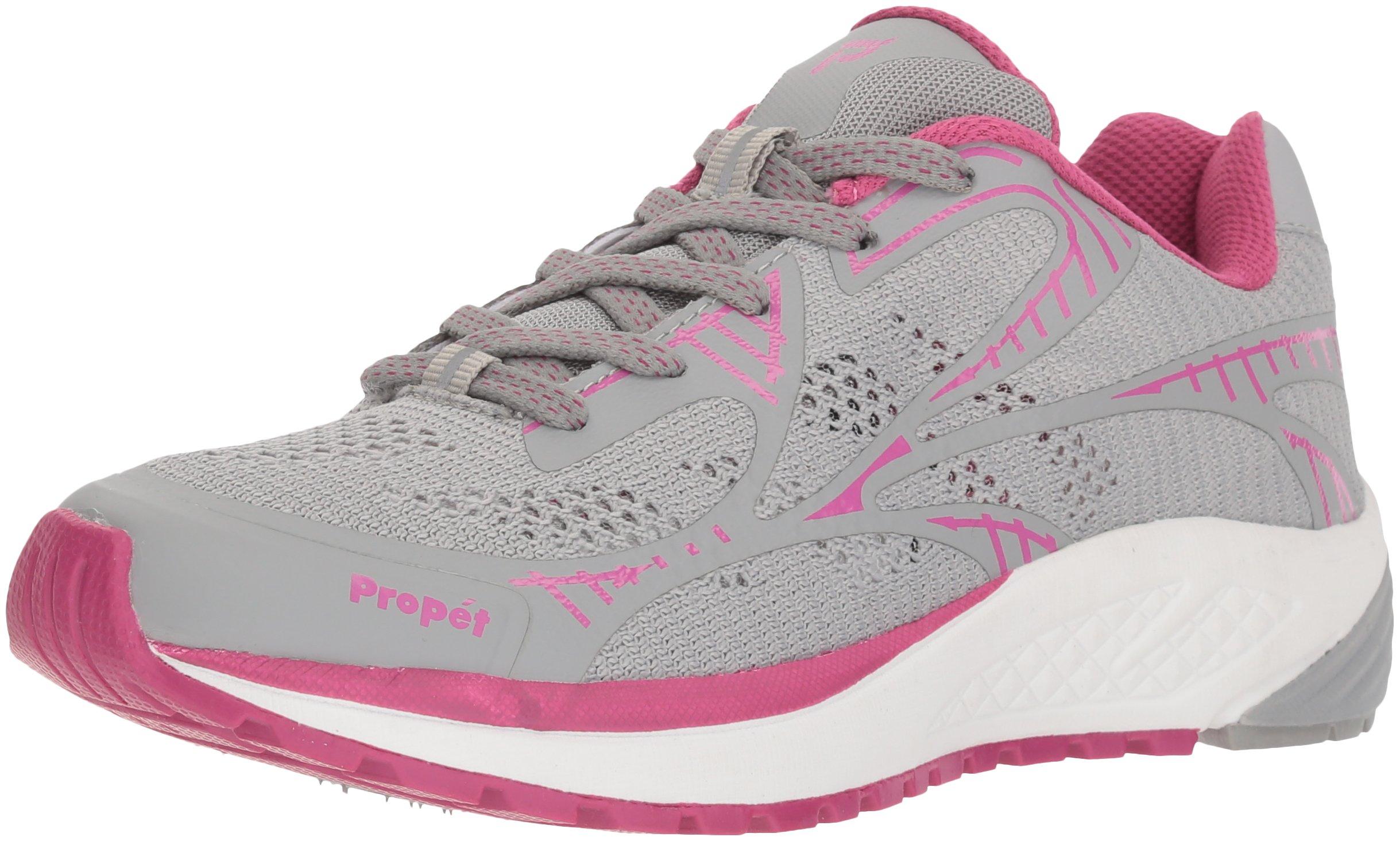Propet Women's One LT Sneaker, Grey/Berry, 8 Narrow US