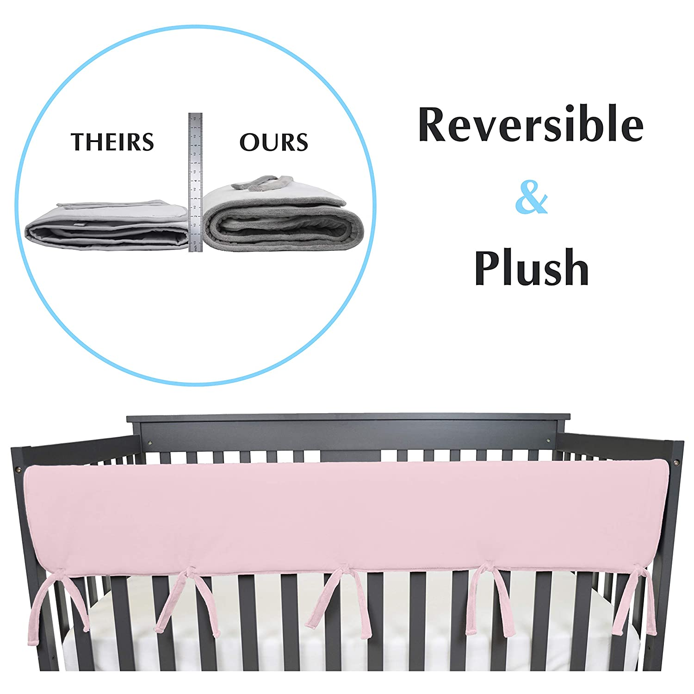 """American Baby Company 1 Pack Heavenly Soft Chenille Reversible Crib Rail Cover für lange Rail, Pink, Wide für Rails Measuring nach oben zu 18"""" Around"""