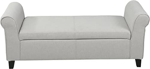 Christopher Knight Home Hayes Armed Fabric Storage Bench, Light Gray