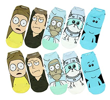 Cartoon Network Rick y Morty personajes no-show calcetines 5 par: Amazon.es: Ropa y accesorios