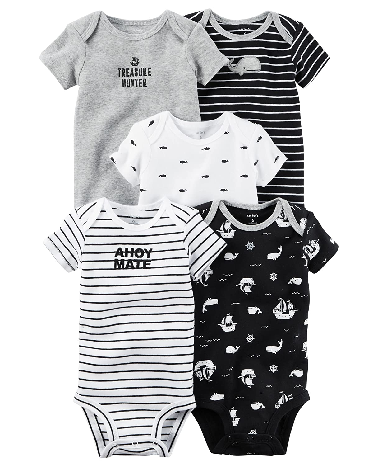 47cc8b69b Amazon.com  Carter s Baby Boys  5 Pack Bodysuits (Baby) Ahoy Mate ...