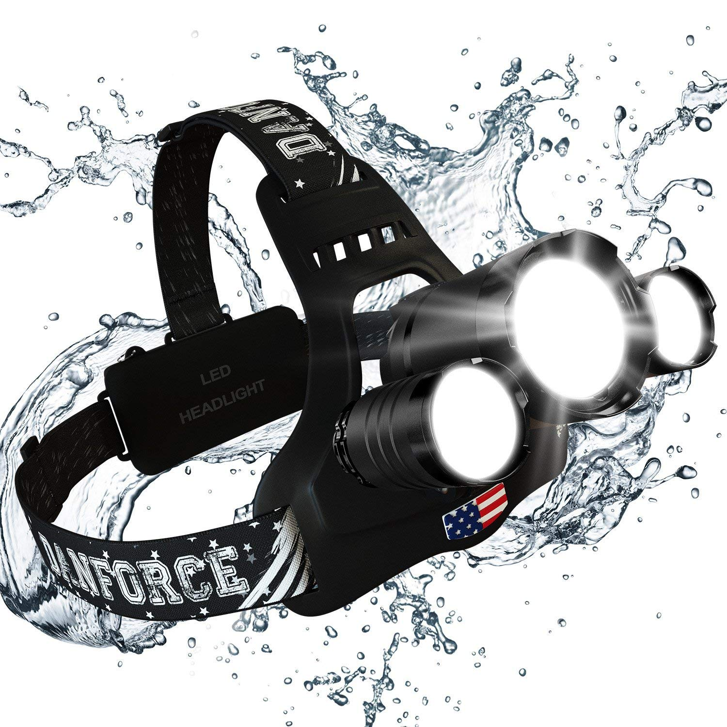 Newest and Best Version Headlamp, Brightest Head Lamp Provide 8000 Lumens with 3 Original Cree Led. 2 Powerful Rechargeable Batteries, Headlamps for Outdoor & Indoor,Headlamps