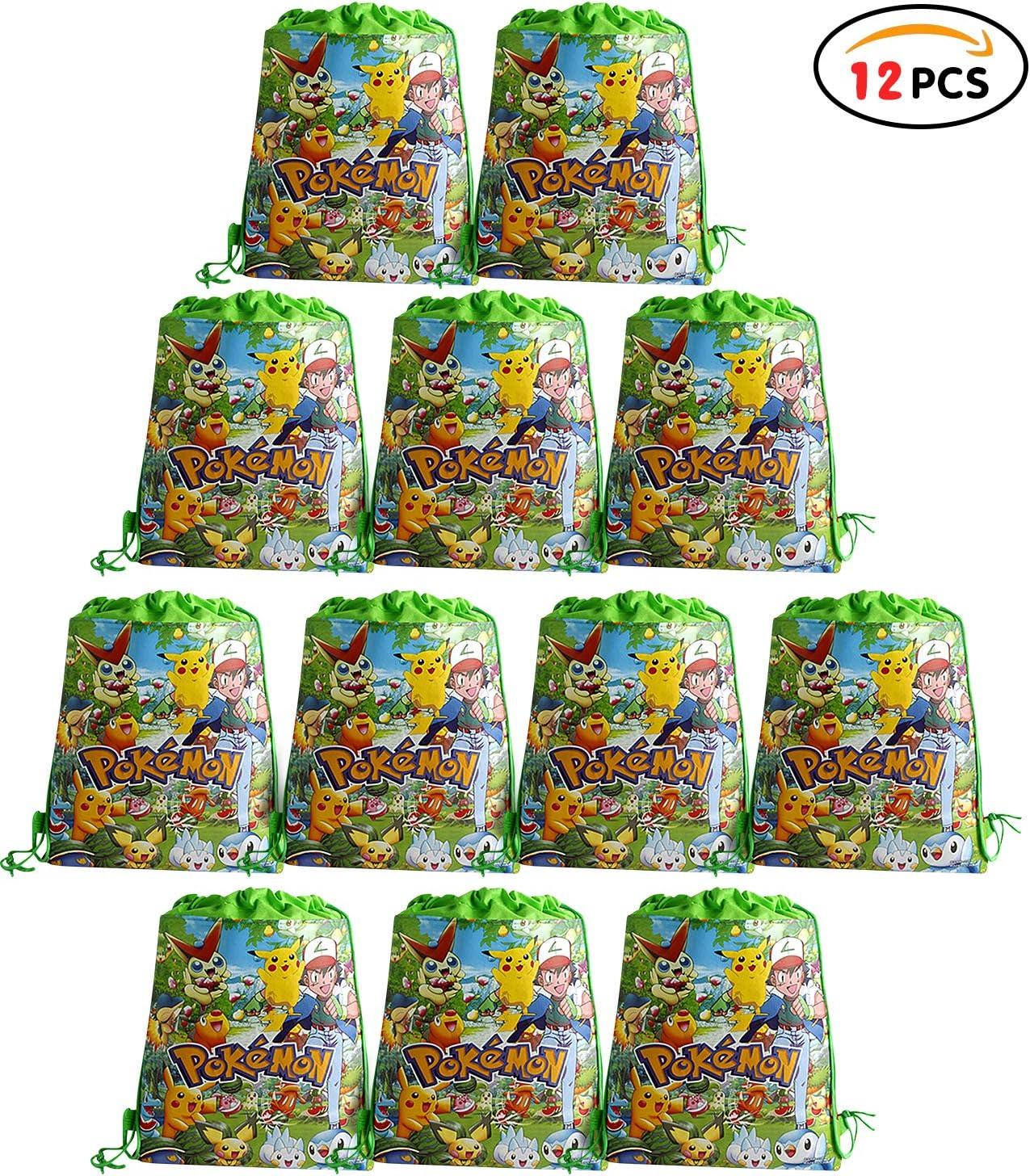 Qemsele Bolsa Mochilas Bolsas de cumpleañoscordón Dibujos Animados Mochila Bolsas para cumpleaños niños y Adultos la Fiesta favorece la Bolsa, Rellenos Bolsas Fiesta 12Pcs (Pokemon, W10 * H12)