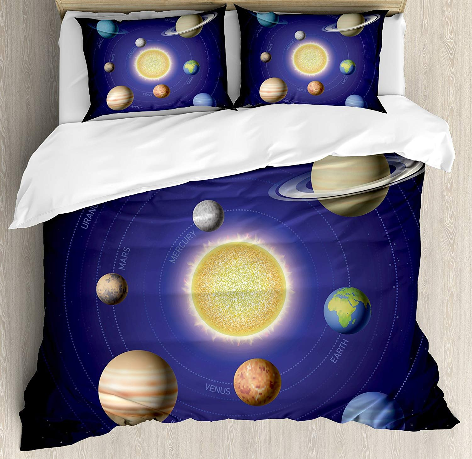 Space Twin Duvet Cover Sets 4 Piece Bedding Set Bedspread with 2 Pillow Sham, Flat Sheet for Adult/Kids/Teen, Solar System Illustration Showing Planets around Sun Harmony of Galaxy Science Room Image