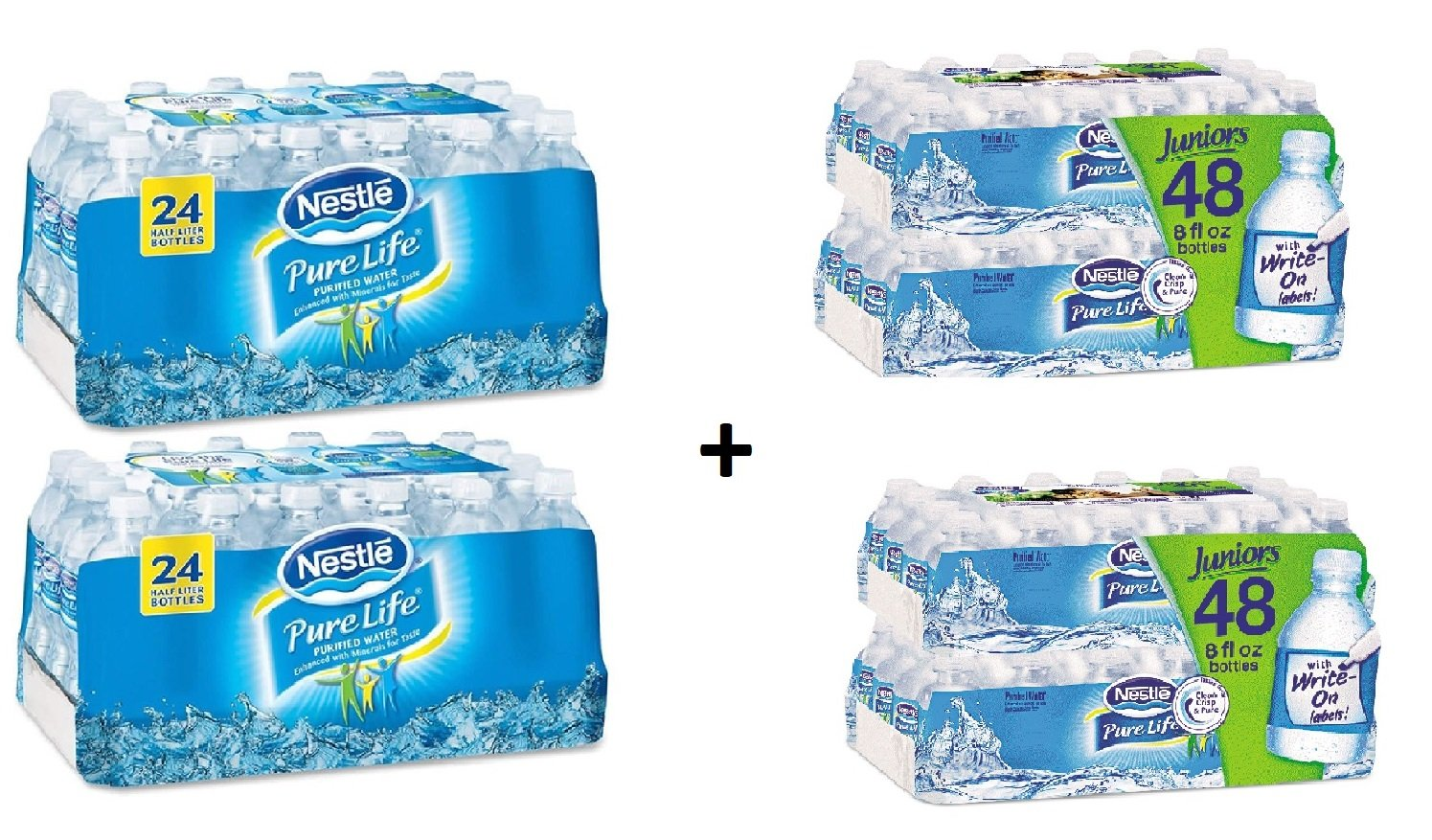 Nestle Pure Life Purified Water, 16.9 oz. Bottles, 2 Cases (24 Bottles) WITH Pure Life Purified Water, 8 oz Bottle, (48 Bottles) 2 Cases