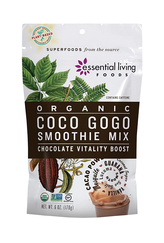 Essential Living Foods Organic Coco Gogo Smoothie Mix, With Cacao, Lucuma, Mesquite, Coconut Sugar, Guarana, Caffeine, Vegan, Superfood, Non-GMO, Gluten Free, Kosher, 6 Ounce Resealable Bag