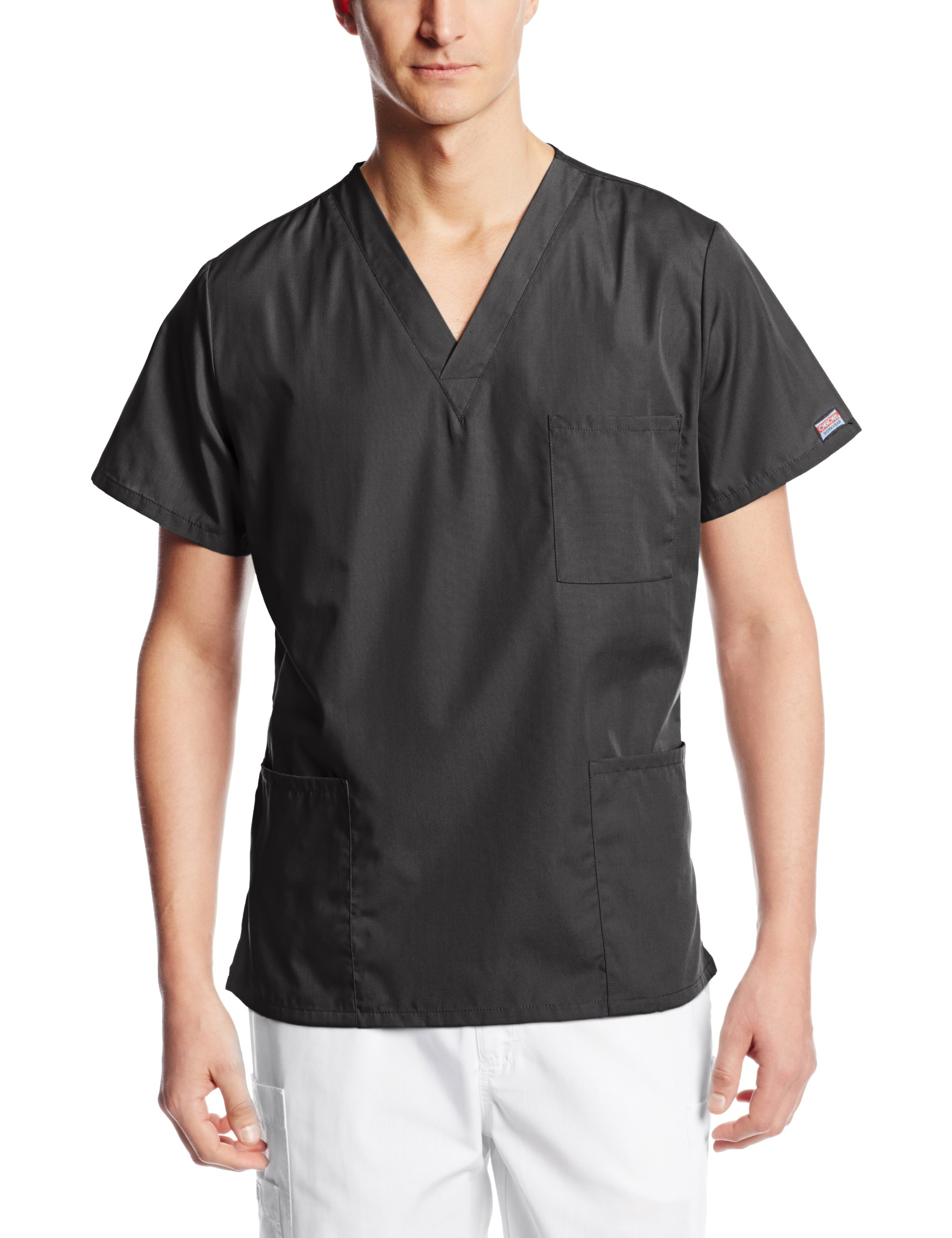 Cherokee Workwear Scrubs Unisex V-Neck Top, Black, X-Large