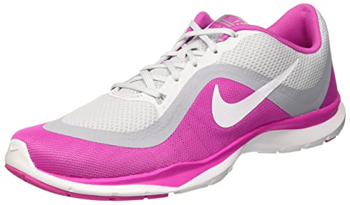 ad13a8f9f735d Nike Women s Flex Trainer 6 Pure Platinum White Pink Force Wolf Grey 6.5