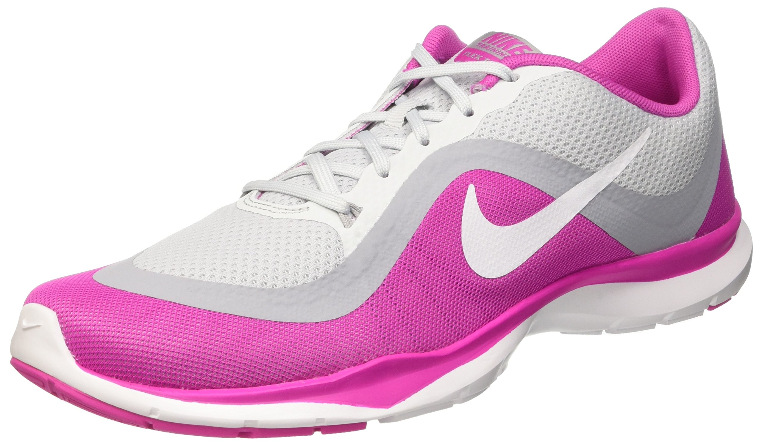premium selection a4136 d3029 Galleon - Nike Women s Flex Trainer 6 Pure Platinum White Pink Force Wolf  Grey 6.5 B(M) US