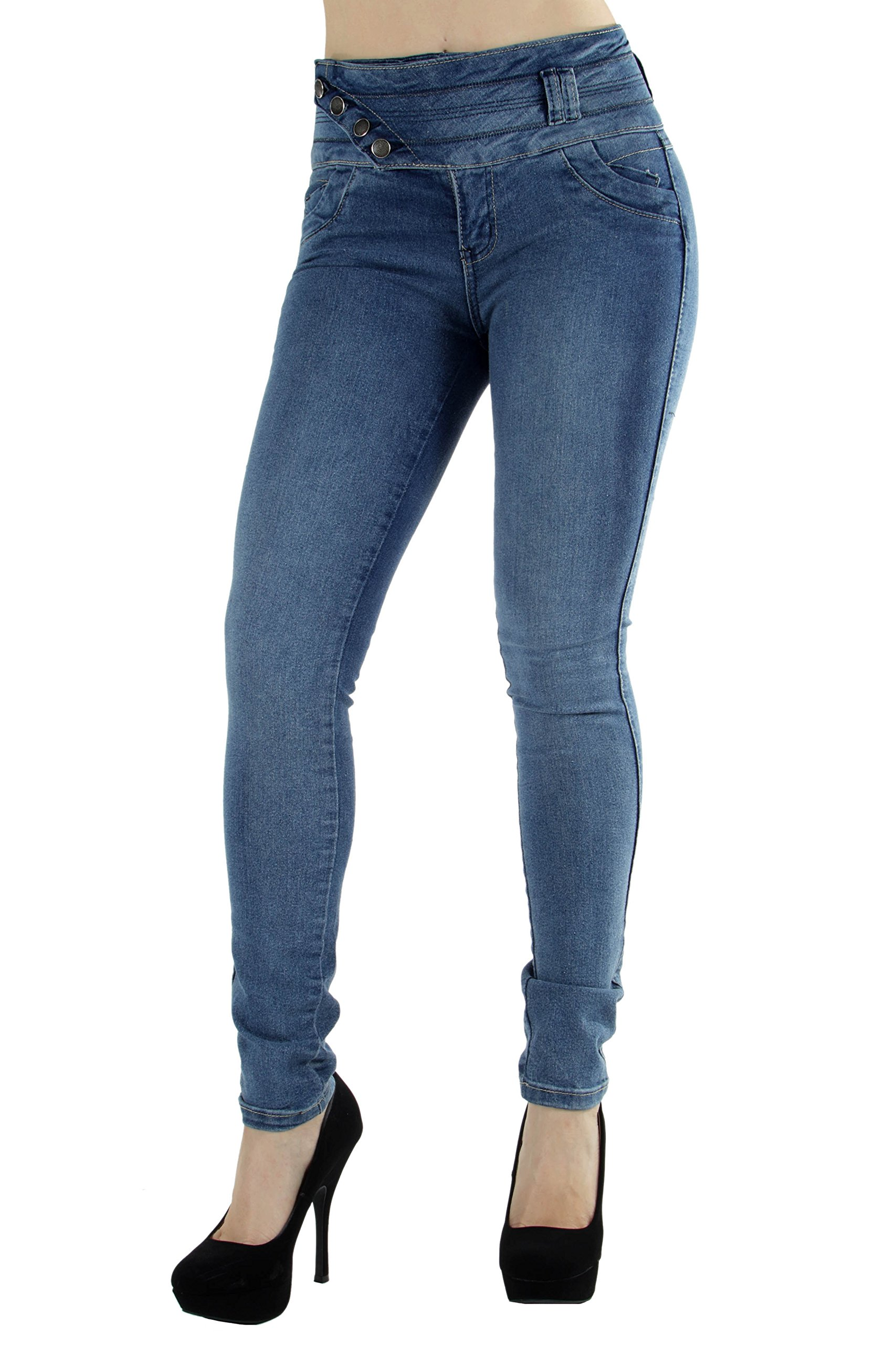 Style M1177– Colombian Design, Mid Waist, Butt Lift, Levanta Cola, Skinny Jeans in M. Blue Size 5