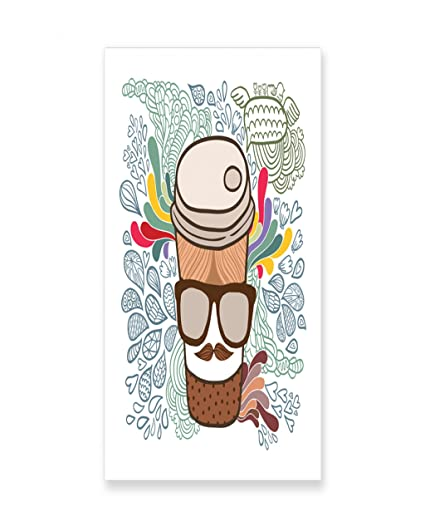 Amazon.com: Lunarable Mustache Wall Art, Polka Dotted Cartoon Coffee ...