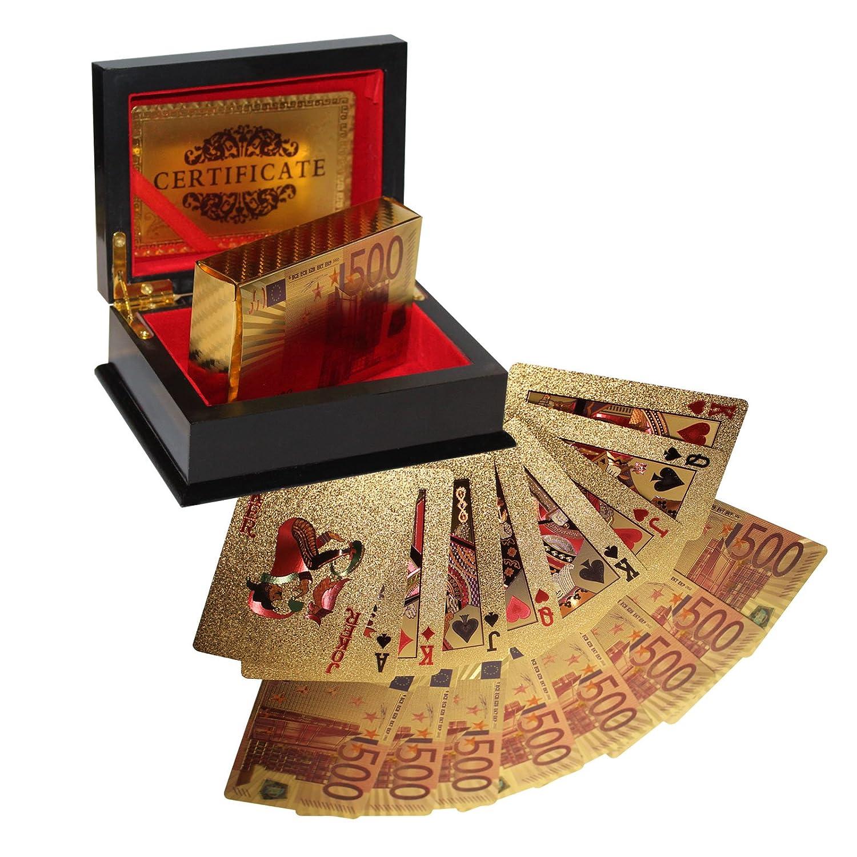Kurtzy Cartes à Jouer Certifiées Plaqué Or 24K Cartes de Poker Jeu de 54 Cartes Motif Euro Cartes 99, 9% Pures 24 Carats d'Or Certificat d'Authentification Inclus dans la Boîte de Présentation Offerte MA-4012