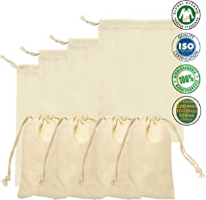 Cotton Double Drawstring Muslin Bag. 100% Organic Cotton Reusable Eco Friendly Natural Storage Muslin Bags. Pack of 100 (3 x 5 Inches)