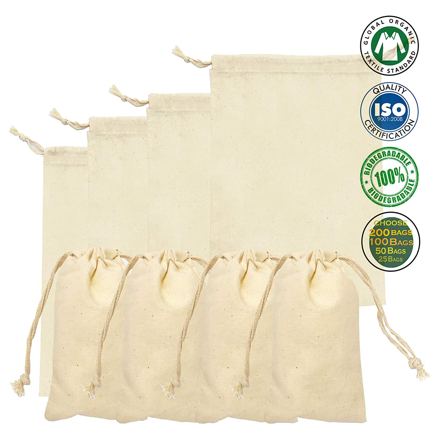 3c4d46f9c93 Amazon.com: Cotton Double Drawstring Muslin Bag. 100% Organic Cotton. Pack  of 100 (3 x 5 Inches): Kitchen & Dining