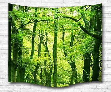 A.Monamour Natur Landschaft Grüne Bäume Wald Bild Drucken Wand Hängen  Tapisserie Wand Wandmalerei Kunst