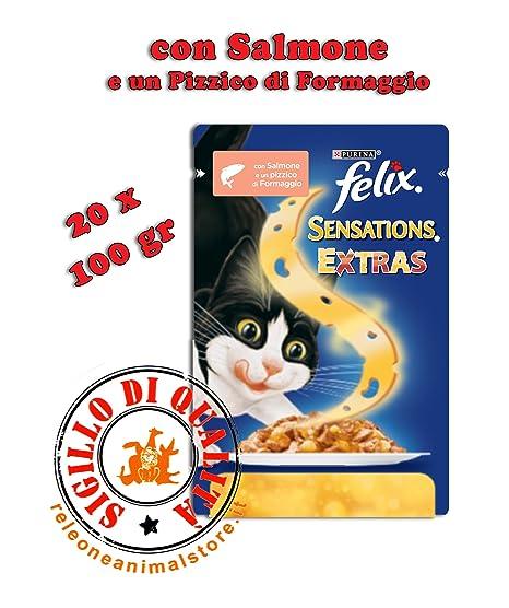 Felix Sensations Extras Alimento húmedo completo para gatos 20 x 100 gr Salmón
