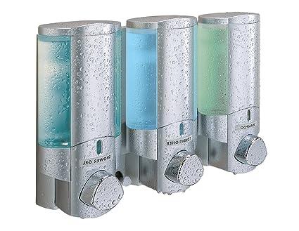 66335 Aviva III Dispensador de jabón doble Dispensador de jabón color plateado satinado