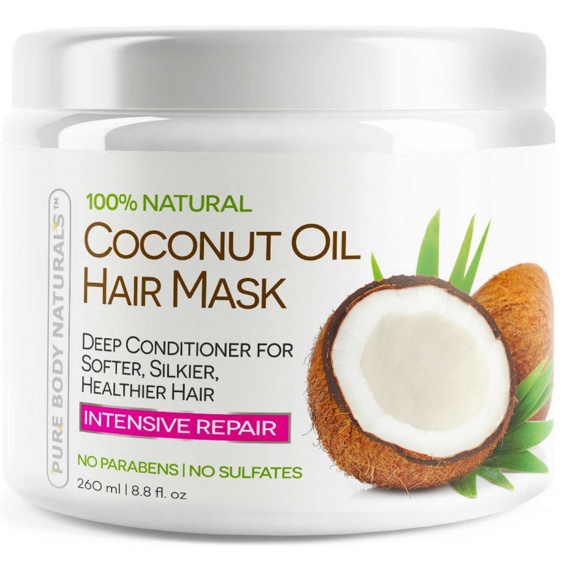 Coconut Oil Hair Mask, Deep Conditioning Hair Treatment for Dry Damaged and Color Treated Hair, Sulfate Free Conditioner, Moisturizes, Repairs, Restores by Pure Body Naturals, 8.8 Fl. Ounce