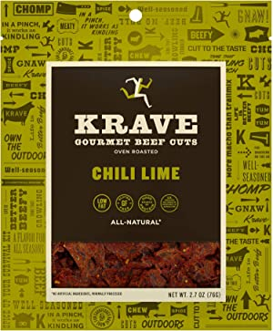 KRAVE Chili Lime Beef Jerky 4 Pack | Premium Chef Crafted Meat Cuts With Unique Flavors and No MSG | High Protein, Gluten Free | Pack of 4 2.7oz bags