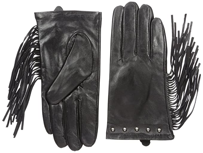 ce5d19b19623e La Fiorentina Women's Leather Studded Glove with Long Side Fringes, Black,  7/Small