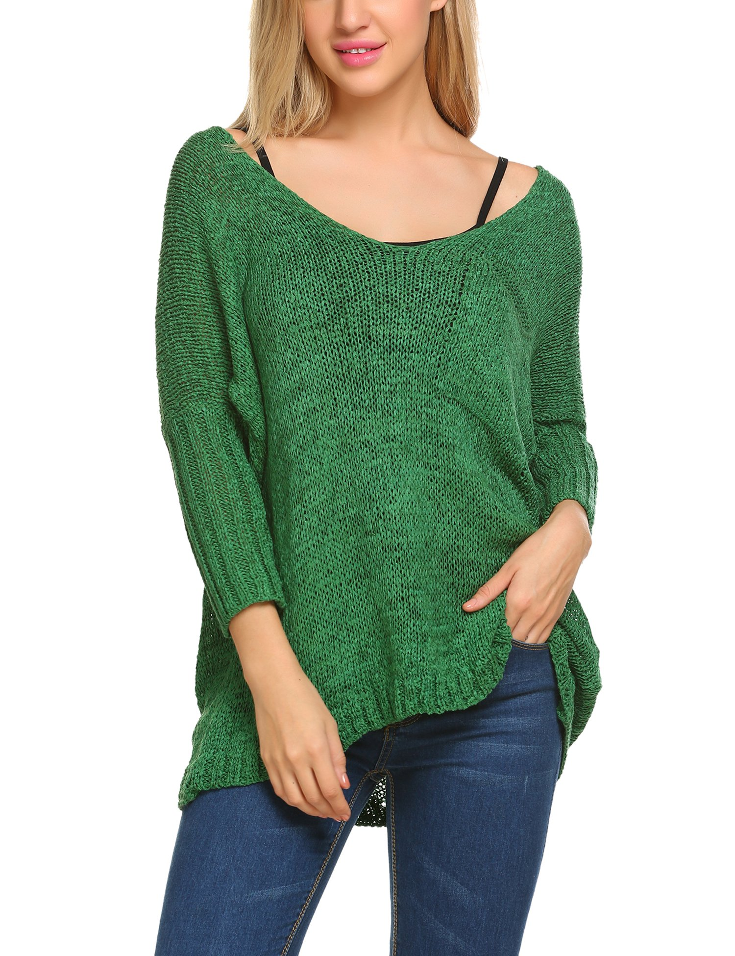 UNibelle Women Casual Loose V Neck Knit Jumper Sweater Pullover Tops