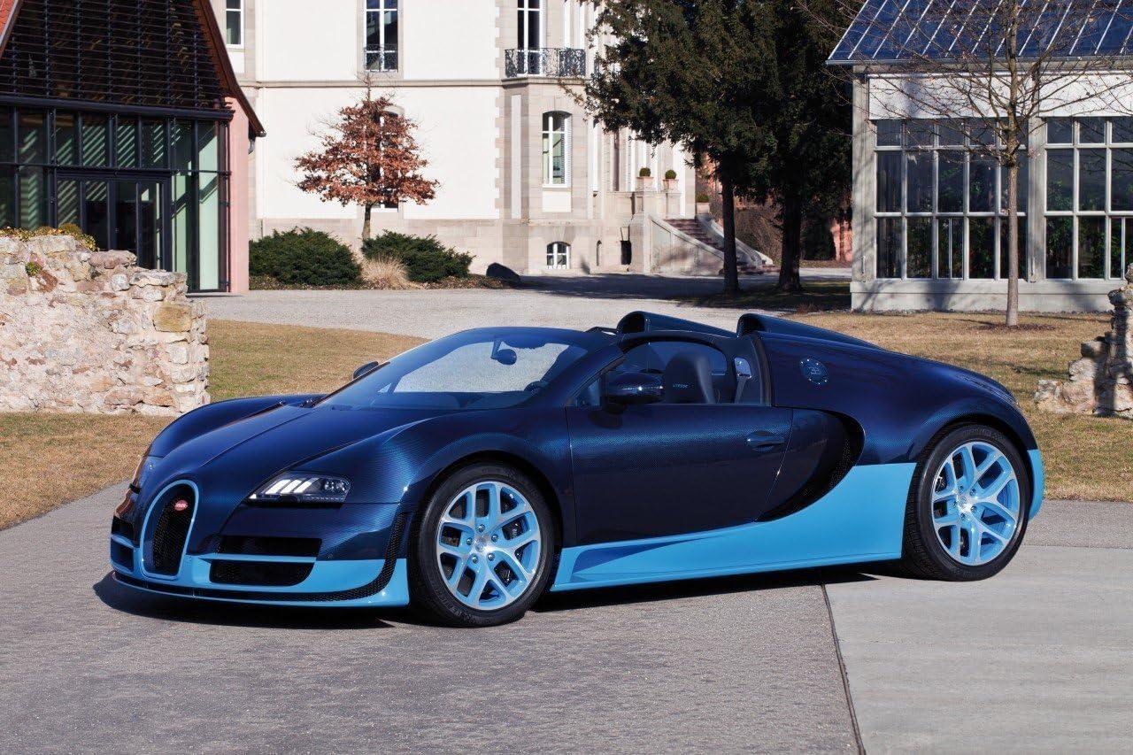 Blanco Bugatti Veyron Grand Sport cars4869 impresión arte cartel A4 A3 A2 A1